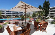 The Marina Club Lagos Resort's lovely poolside seating situated in staggering Algarve.