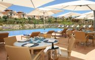 The Monte Rei Golf  Country Club's scenic outdoor seating in sensational Algarve.