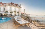 The Hotel Albatroz's sunbeds with spectacular sea views situated in amazing Lisbon.