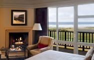 The Inn at Spanish Bay's lovely double bedroom within dramatic California.