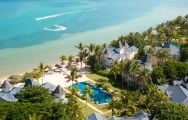 The Heritage Le Telfair Golf  Spa Resort's picturesque ariel view in pleasing Mauritius.