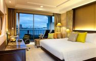 The Dusit Thani Hotel's scenic double bedroom within magnificent Pattaya.