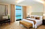 View The St Regis Doha's scenic sea view double bedroom in vibrant Qatar.