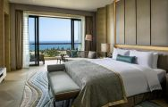 The Sofitel Sanya Leeman Resort's lovely double bedroom within dramatic China.