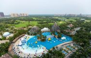 The Haikou Mission Hills Resort's picturesque main pool in gorgeous China.