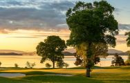 The Loch Lomond Golf Club's scenic golf course situated in dramatic Scotland.