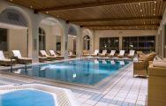 The Hotel Ermitage Evian Resort's scenic spa indoor pool in gorgeous French Alps.