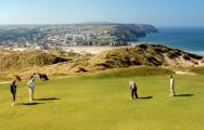 Perranporth links golf course in North Cornwall, England