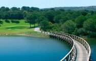 bridge over the lake on almenara golf course