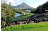 View Tamarina Golf's beautiful golf course in striking Mauritius.