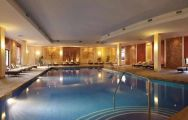 the beautiful indoor swimming pool at the son caliu hotel and spa oasis , Mallorca