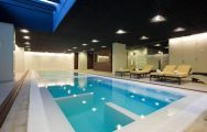 The Double Tree By Hilton Hotel Emporda  Spa's lovely indoor pool in pleasing Costa Brava.