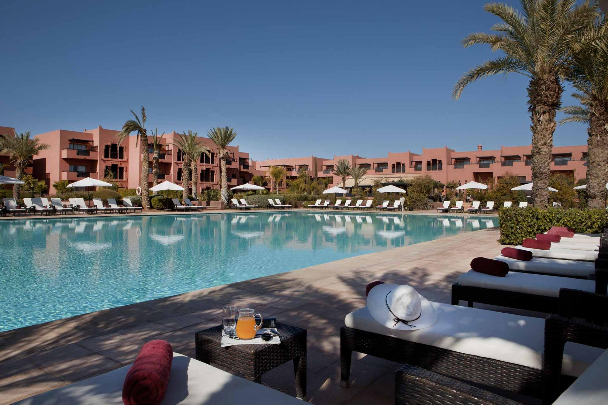 The Kenzi Menara Palace's impressive main pool situated in stunning Morocco.