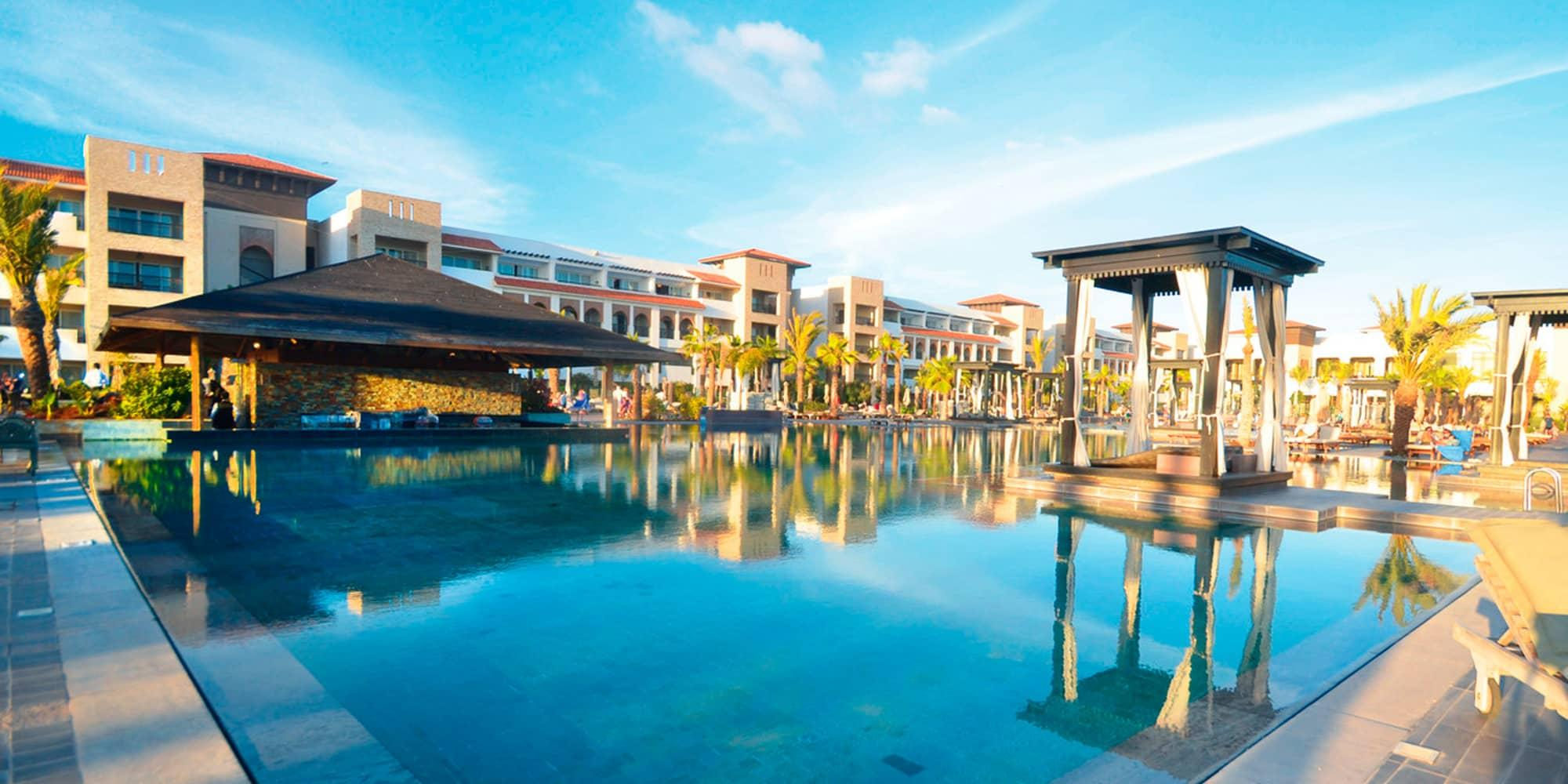 The Hotel Riu Palace Tikida Agadir's impressive main pool in incredible Morocco.
