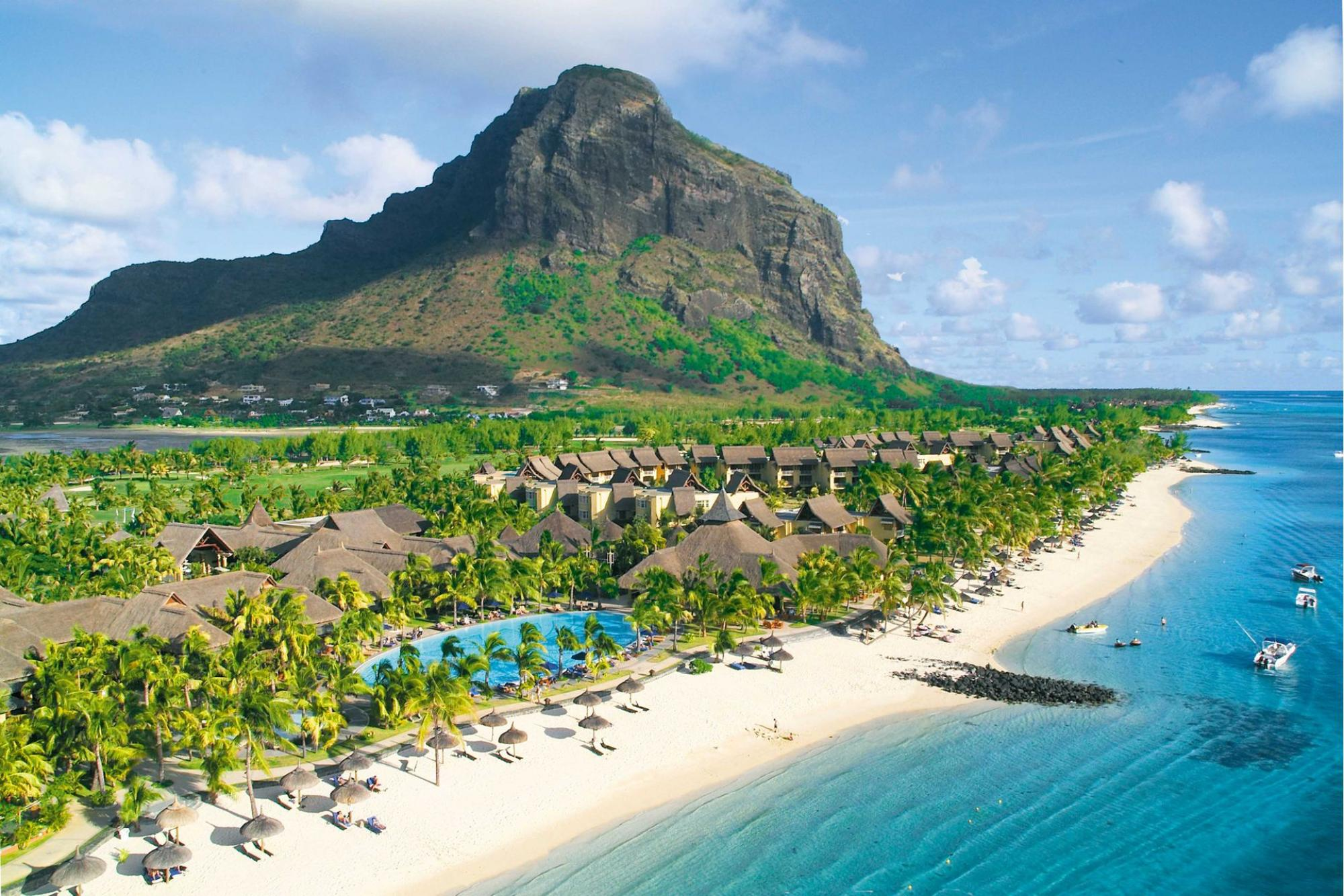 View Paradis Beachcomber Golf Resort  Spa's scenic ariel view within incredible Mauritius.