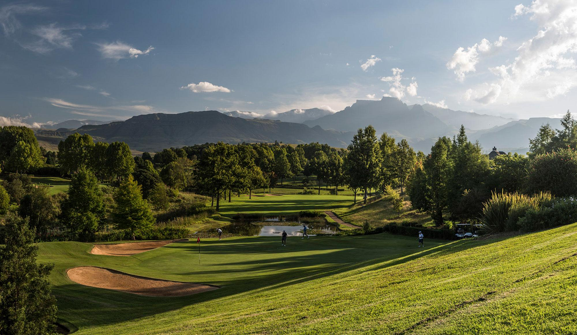 The Champagne Sports Golf Club's beautiful golf course situated in marvelous South Africa.