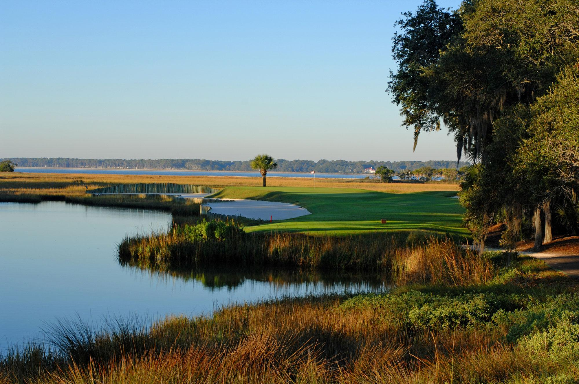 View Harbour Town Golf Links's picturesque golf course within dazzling South Carolina.