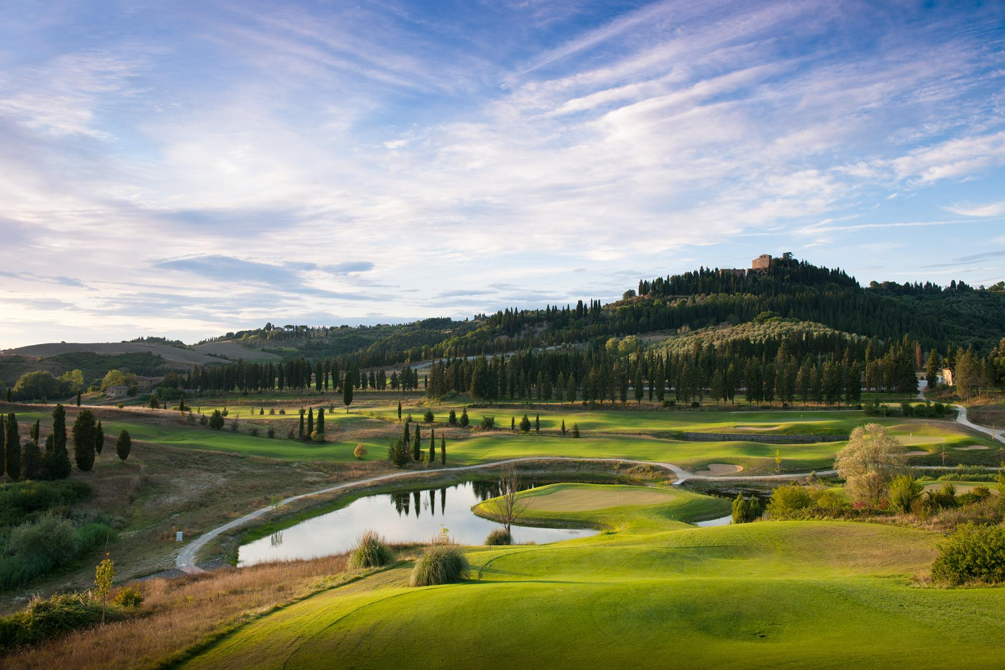 The Golf Club Castelfalfi's beautiful golf course within brilliant Tuscany.