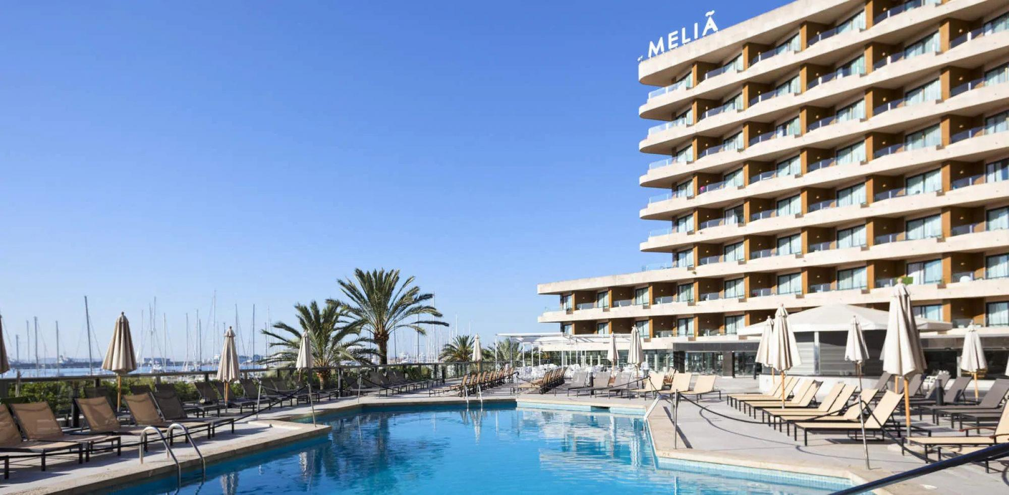 The Melia Palma Marina's impressive sea view pool situated in gorgeous Mallorca.