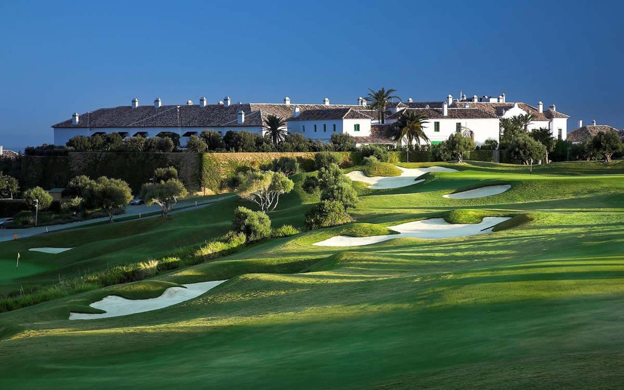 The Finca Cortesin Golf Club's picturesque golf course in pleasing Costa Del Sol.