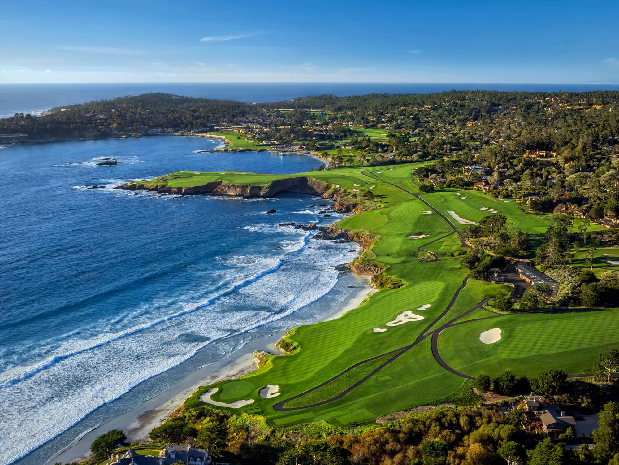 View Pebble Beach Golf Links's picturesque golf course in dramatic California.
