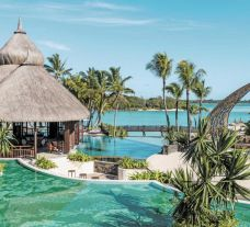 The Shangri La Le Touessrok Resort  Spa's scenic outdoor pool in brilliant Mauritius.