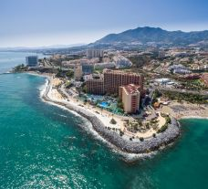 View Sunset Beach Club Benalmadena's scenic ariel view within amazing Costa Del Sol.