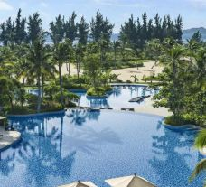 The Shangri-La Sanya Resort and Spa's beautiful main pool within amazing China.