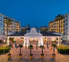 The H10 Andalucia Plaza Hotel's beautiful entrance in striking Costa Del Sol.