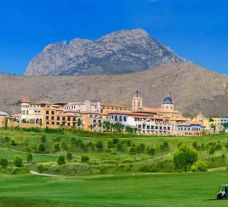 a view of the Villaitana golf course with the hotel in the background