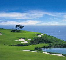 View Pelican Hill Golf Club's impressive golf course situated in brilliant California.