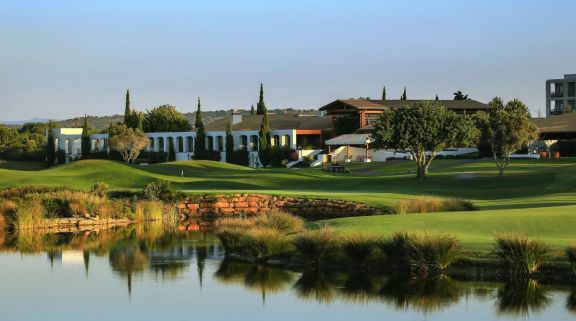 The Dom Pedro Victoria Golf Course's picturesque 18th hole situated in stunning Algarve.
