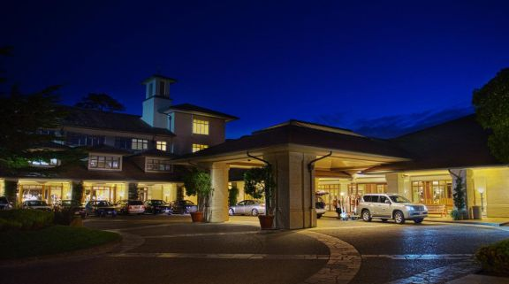 The Inn at Spanish Bay's lovely entrance in incredible California.