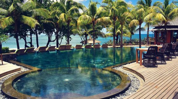 The Tamarina Golf  Spa Boutique Hotel's impressive sea view pool within brilliant Mauritius.
