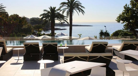 The Son Caliu Hotel  Spa Oasis's picturesque sea view pool situated in stunning Mallorca.