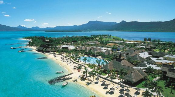 The Paradis Beachcomber Golf Resort  Spa's lovely ariel view situated in staggering Mauritius.