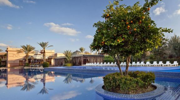 The Palmeraie Village's impressive main pool situated in staggering Morocco.