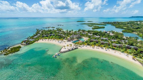 View Four Seasons Resort Mauritius at Anahita's lovely ariel view in magnificent Mauritius.
