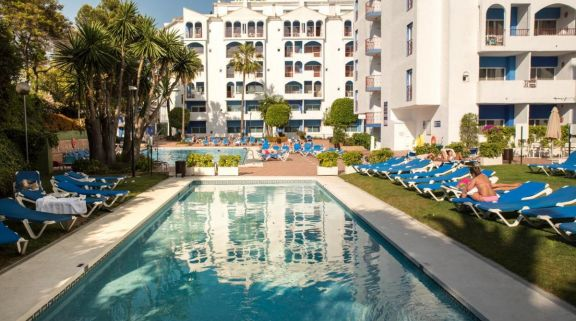 The Hotel PYR Marbella's beautiful main pool within staggering Costa Del Sol.