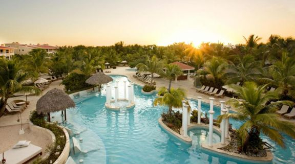 View Melia Caribe Tropical Golf  Beach Resort's lovely main pool within dramatic Dominican Republic.