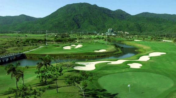 The Yalong Bay Golf Club's picturesque golf course situated in impressive China.