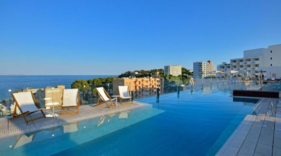 View INNSIDE Calvia Beach's picturesque sea view pool within dazzling Mallorca.