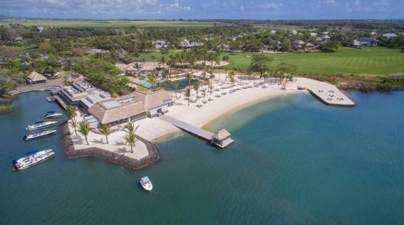 View Anahita Golf  Spa Resort's impressive ariel view situated in incredible Mauritius.