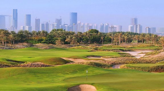 The Saadiyat Beach Golf Club's impressive golf course situated in pleasing Abu Dhabi.