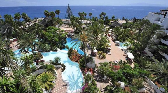 ariel view of the hotel gardens and swimming pool